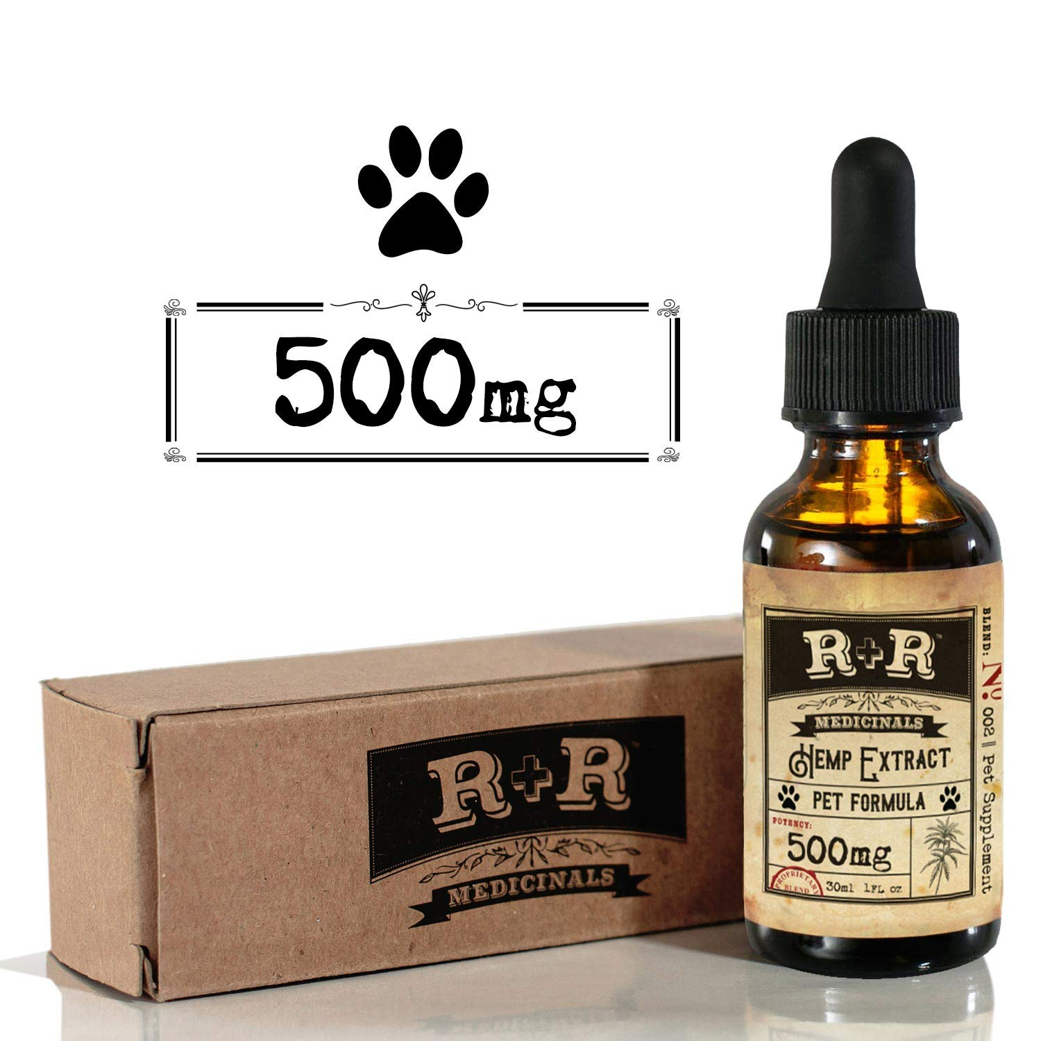 R+R Medicinals Hemp Oil for Dogs :: Hemp Oil for Pets :: Hemp Oil for Cats :: Hemp Oil for Stress Relief, Anxiety, Pain, Calming Relief (500mg, 16.7mg Serving x 30 Servings) by R+R Medicinals