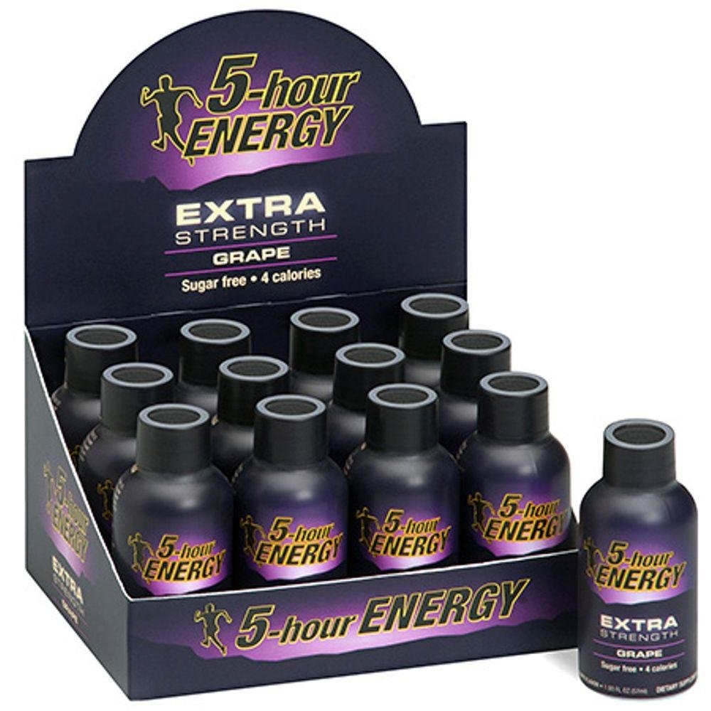 5 Hour Energy Shot Extra Strength Grape 24 Pack of 2 Ounce Bottles, Brown