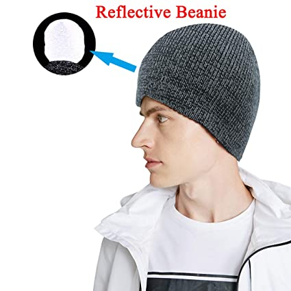 Rotus Unisex Reflective Beanie Hat Enhanced Visibility Cold Weather Running  Beanie Cap 11e10676463