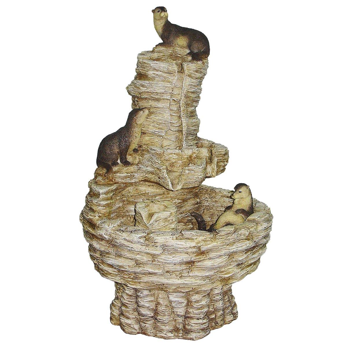 Design Toscano Tres Amigos Playful Otter Fountain, 18-Inch