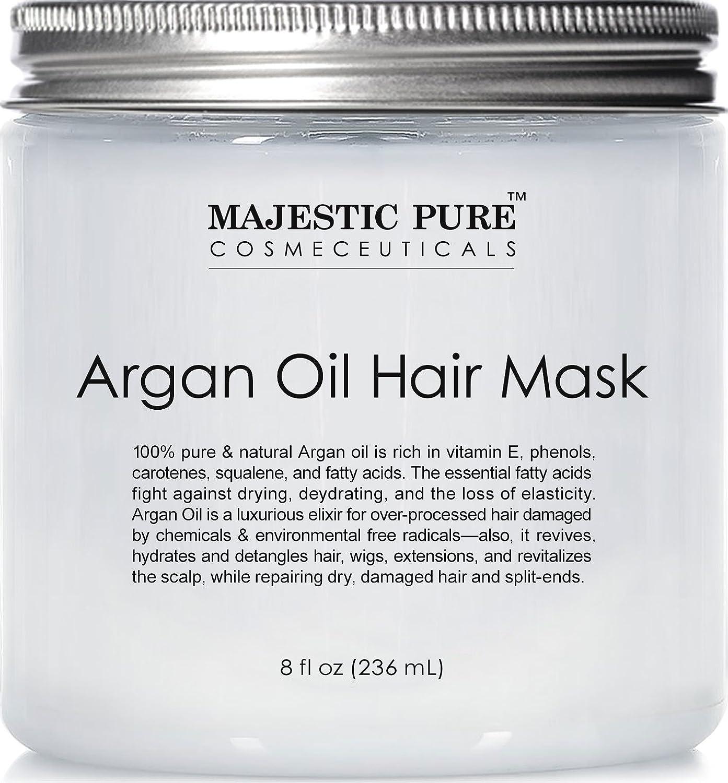 Majestic Pure Argan Hair Mask, Natural Hair Care Product, Hydrating & Restorative Hair Repair Mask - 8 fl Oz