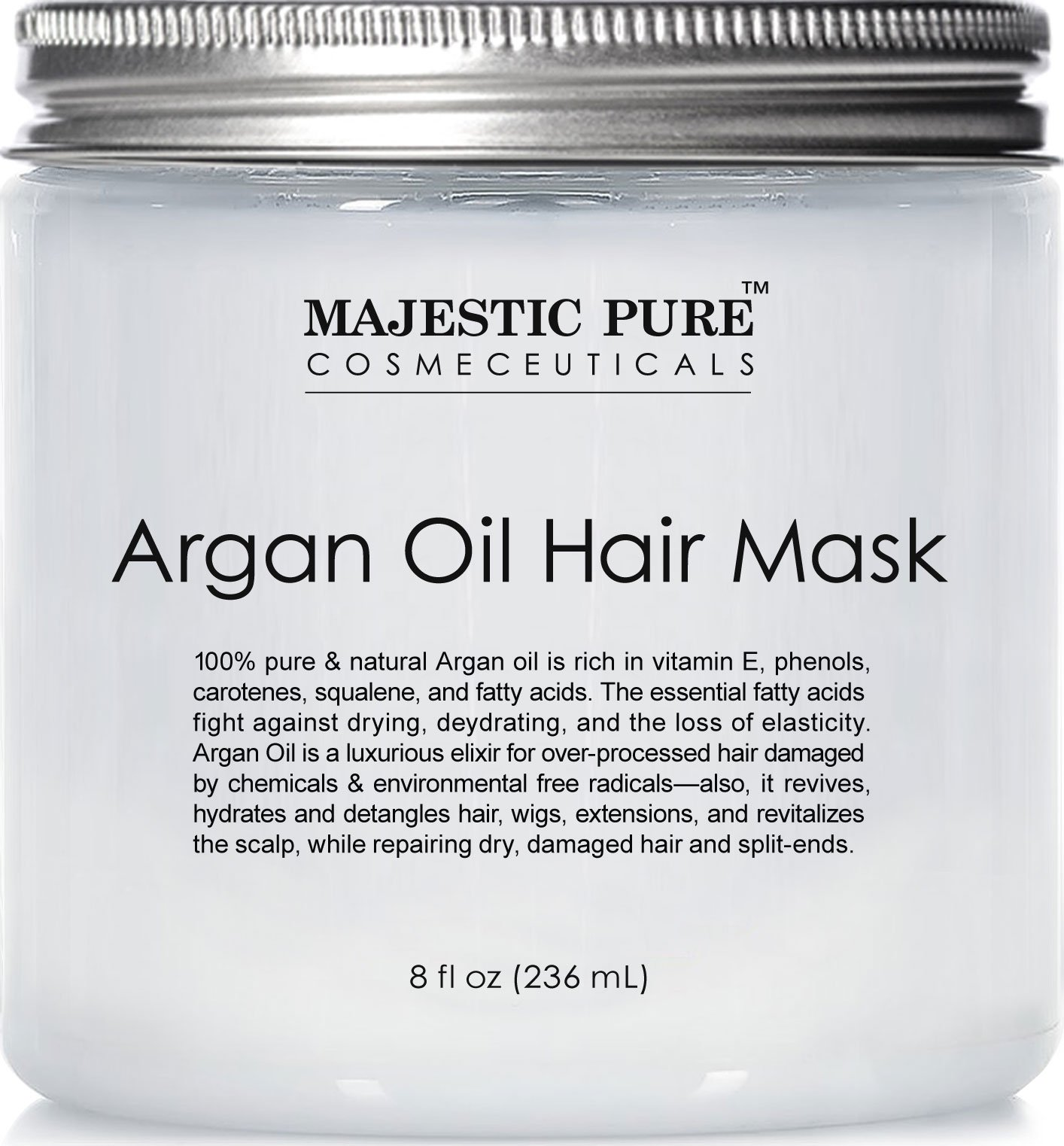 Majestic Pure Argan Hair Mask, Natural Hair Care Product, Hydrating & Restorative Hair Repair Mask - 8 fl Oz