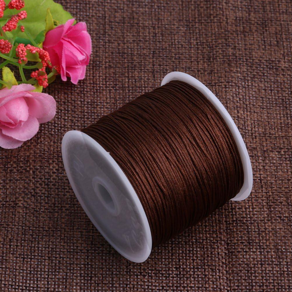 Light Coffee Mimgo Store 45M Chinese Knot Cord Handcraft Braid Rattail Satin Nylon Trim Cord Chinese Knot 0.8mm x 49 yards