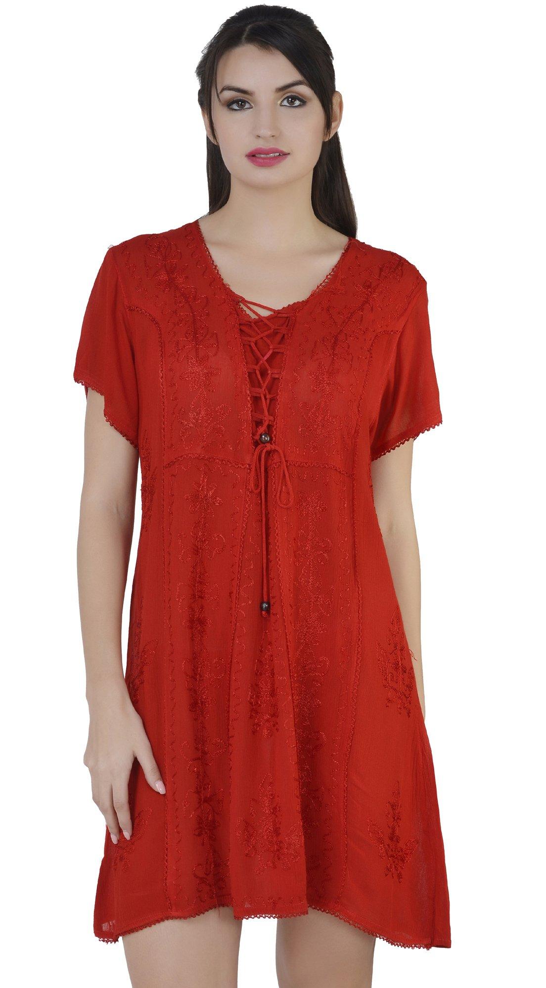 SKAVIJ Womens Shirt Casual Tops Short Sleeve T-Shirts Blouse Loose Tunic Dress