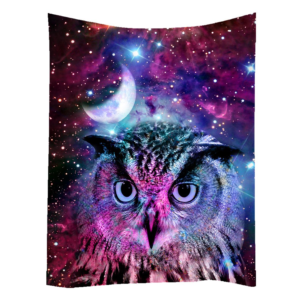 SXCHEN Hippie Tapestry Art Wall Hangings Tapestries Owl Moon Galaxy Star Animal 40x60