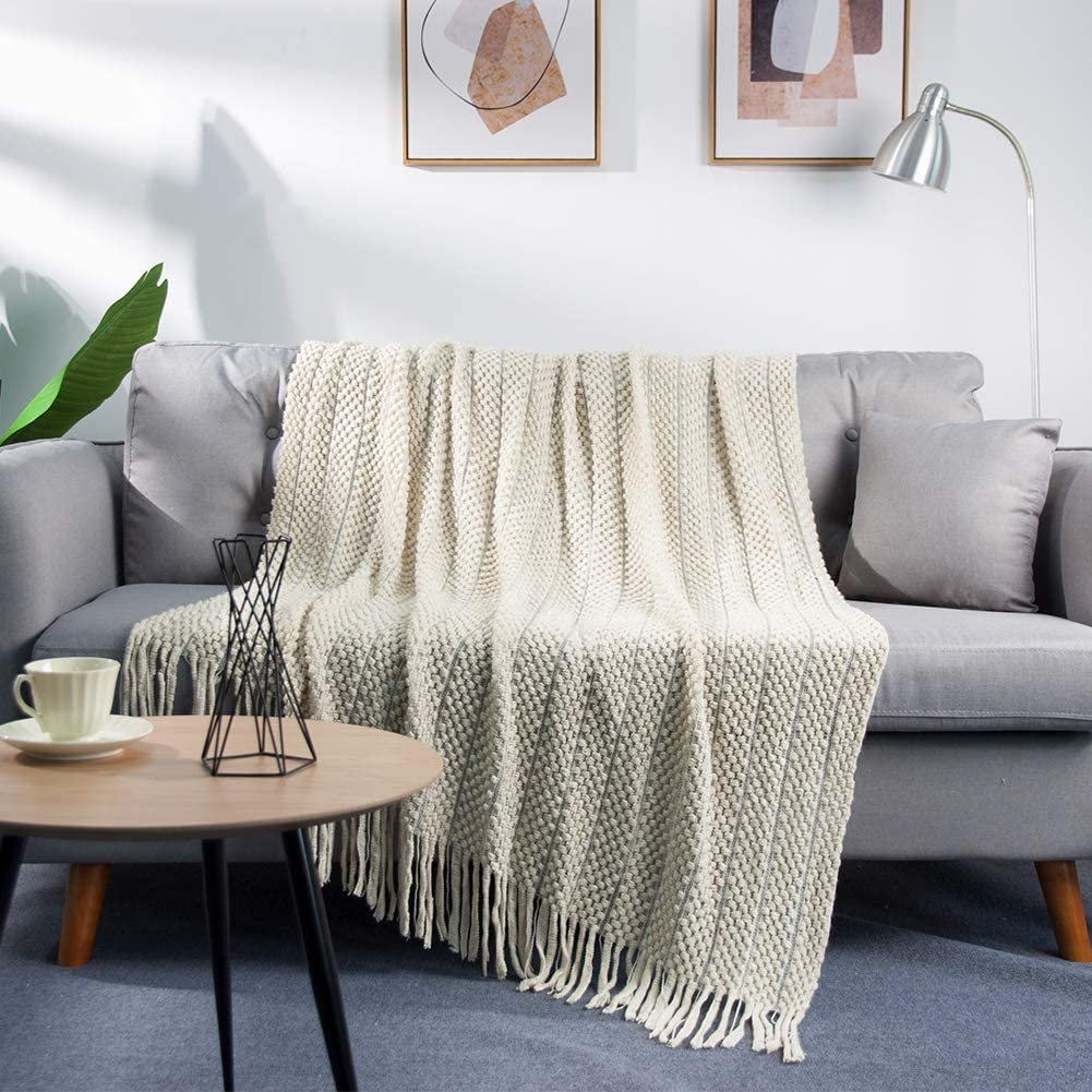 LALIFIT Throw Blanket with Tassel Solid Soft Sofa Couch Cover Decoration Knitted Blankets Gifts for Home Decorate 50