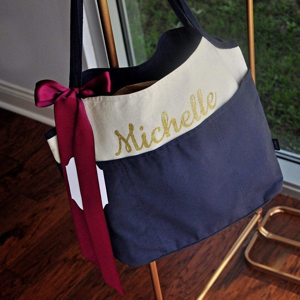 Wedding Party Gifts For Bridesmaids QTY.1 N16CT Navy Bridesmaid Gift Bridesmaid Tote Bag Personalized