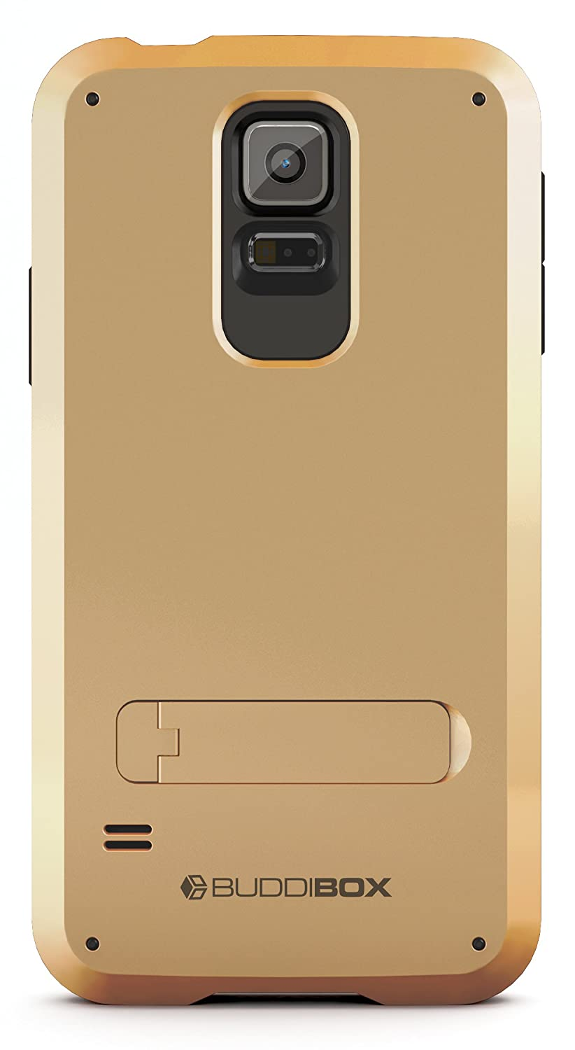 wholesale dealer b6bfc 81f26 Galaxy S5 Case, BUDDIBOX [Shield] Slim Dual Layer Protective Case with  Kickstand for Samsung Galaxy S5, (Gold)