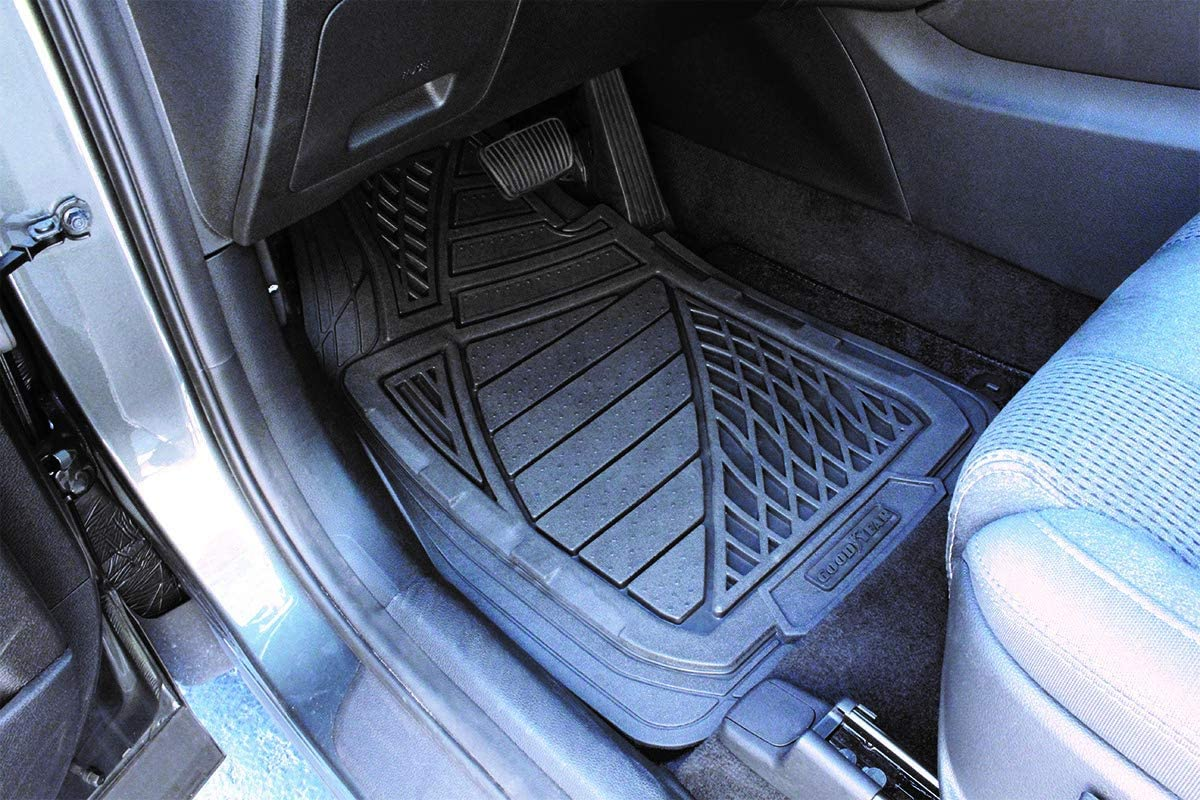 Made with a Raised Moisture Barrier to Shield Floor Surfaces from Rain Spills Black and Snow Goodyear GY6204 Premium Heavy Duty 4 Piece Rubber Car Floor Mat