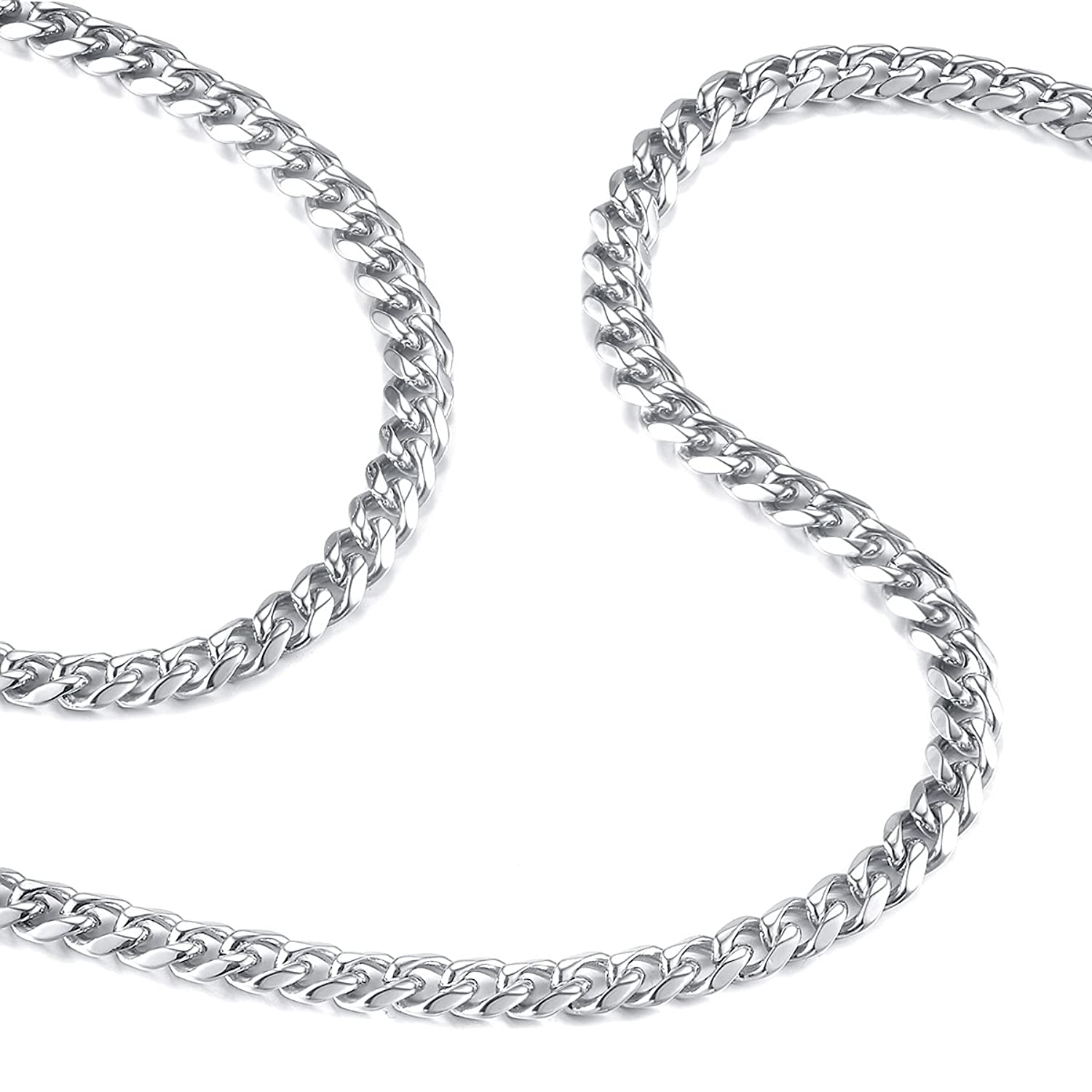 6243ac8276019 FOSIR 6mm Mens Necklace Stainless Steel Silver Curb Chain 18