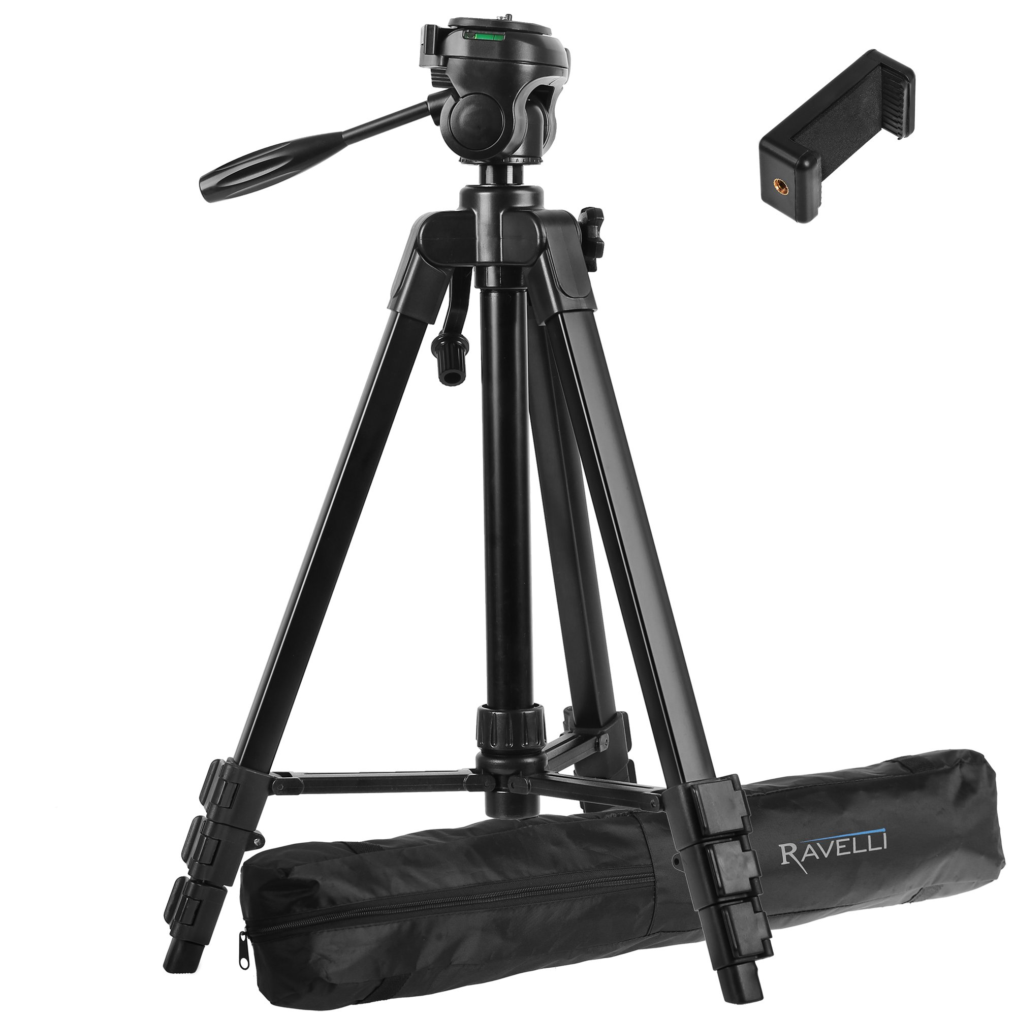 Ravelli APLT4 61'' Light Weight Aluminum Tripod With Bag Includes Universal Smartphone Mount by Ravelli