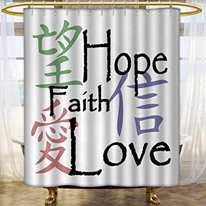 Anhounine Hope Shower Curtains Waterproof Chinese Symbols Of Faith Love With Religious Arrangement Oriental Illustration
