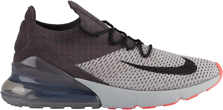 Nike Air Max 270 Flyknit – Mens Atmosphere Grey Hyper Punch Thunder Grey Nylon Training Shoes, 10