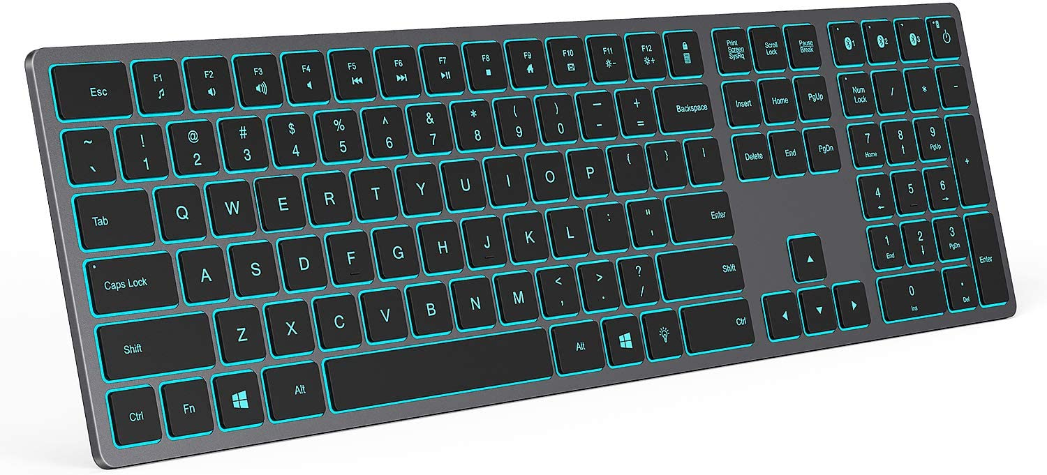 Backlit Bluetooth Keyboard, Seenda Ultra Slim Multi Device Rechargeable Wireless Keyboard with 7 LED Lights, Easy Switch Between 3 Devices, Compatible for Windows Computer Laptop, Space Gray