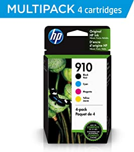 HP 910 | 4 Ink Cartridges | Black, Cyan, Magenta, Yellow | 3YL61AN, 3YL58AN, 3YL59AN, 3YL60AN