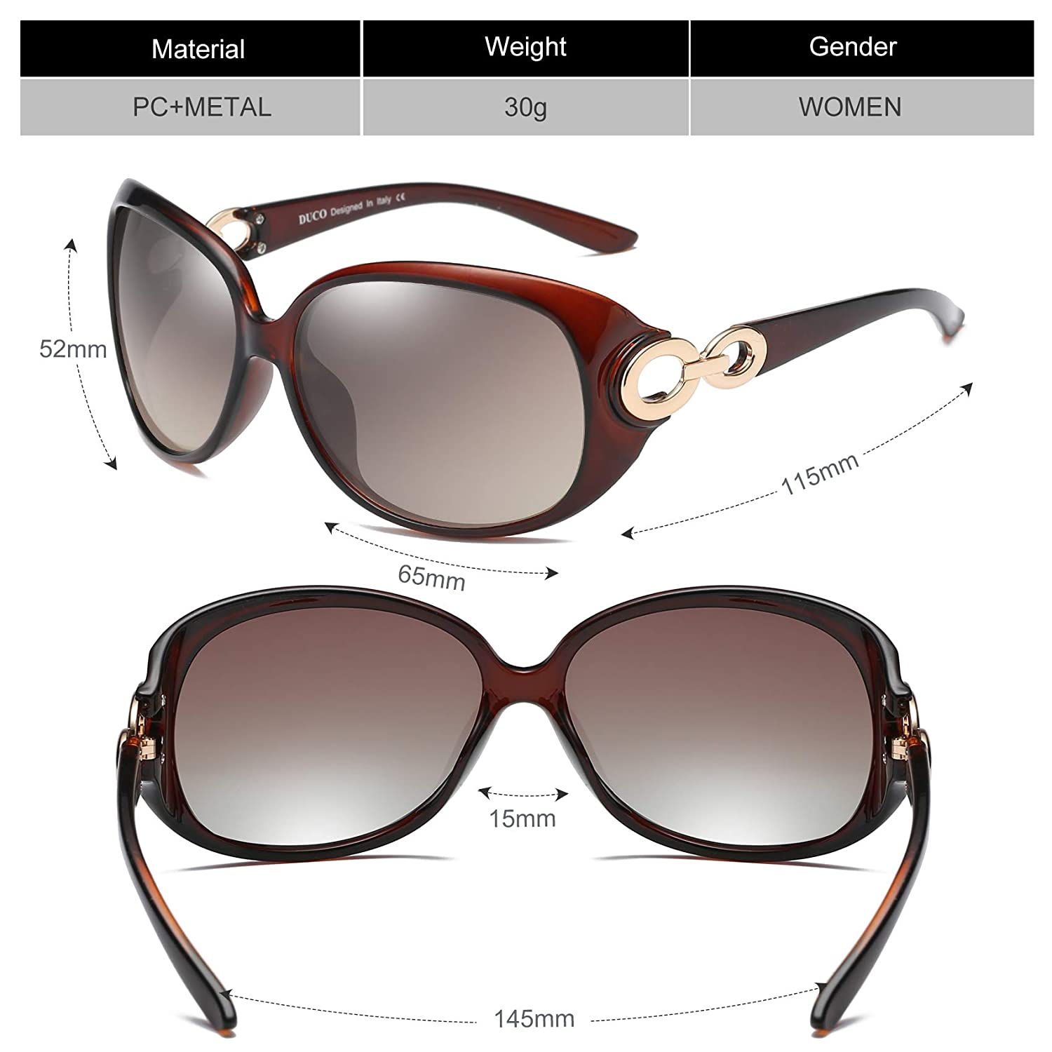 812c7f5d7ef Duco Womens Classic Star Polarized Sunglasses 100 % UV Protection 1220   (Gradient Brown