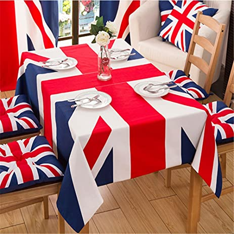 Hoomy Union Jack Tablecloths Rectangular British Cotton Table Cloth For  Dinning Table Modern Durable Table Covers