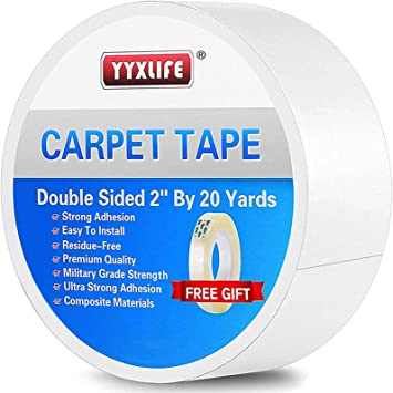 YYXLIFE Double Sided Carpet Tape,2Inch x 20 Yards,for Area Rugs Carpet Adhesive Rug Gripper Removable Multi-Purpose Rug Tape Cloth for Hardwood Floors,Outdoor Rugs,Heavy Duty Sticky Tape,White