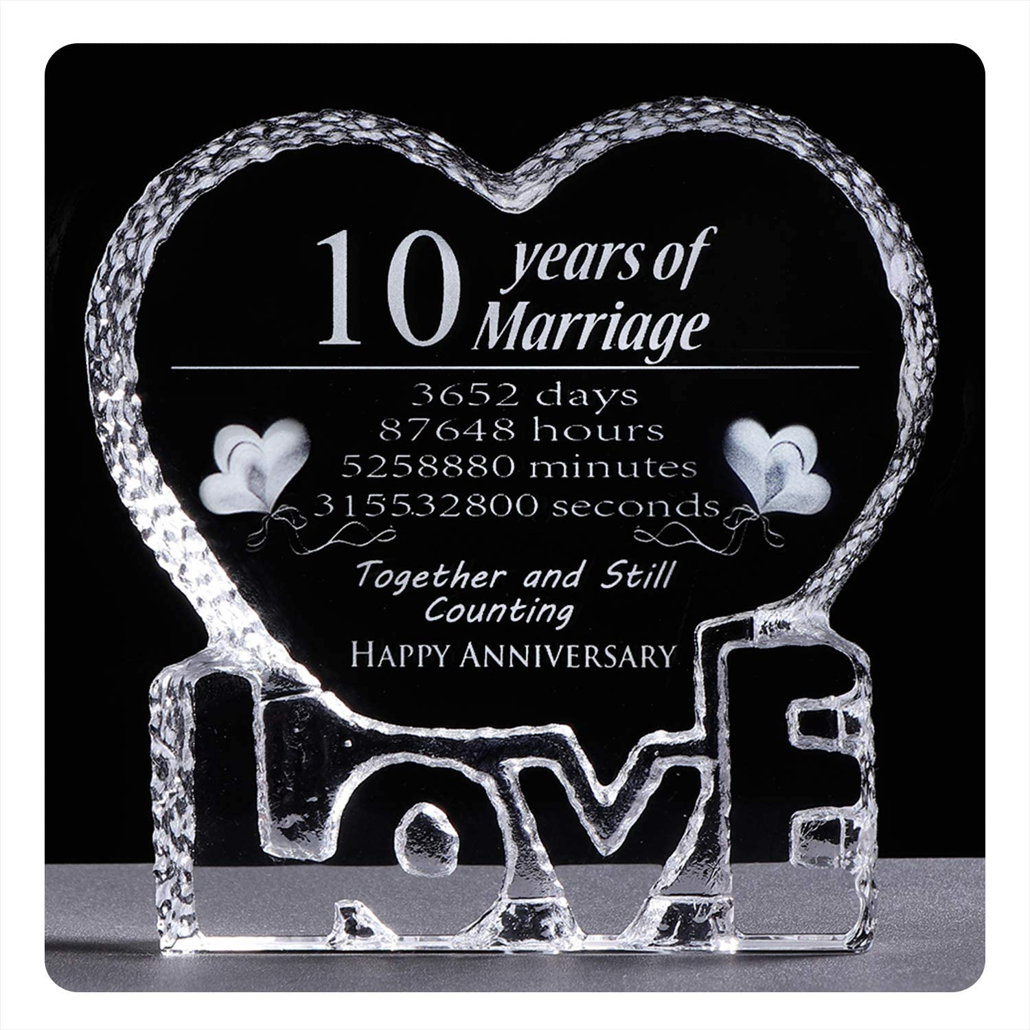 Amazon Com Ywhl 10 Year Crystal 10th Wedding Anniversary Paperweight Keepsake Gift For Her Wife Girlfriend Him Husband Office Products