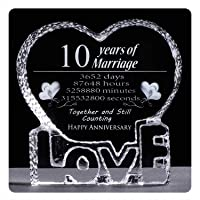 YWHL 10 Year Crystal 10th Wedding Anniversary Paperweight Keepsake Gift for Her Wife Girlfriend Him Husband