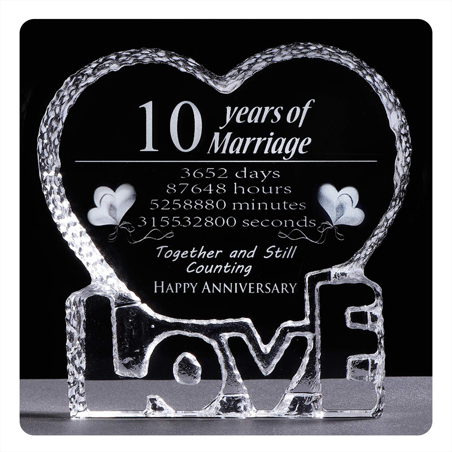 YWHL 10 Year Crystal 10th Wedding Anniversary Paperweight Keepsake Gifts for Her Wife Girlfriend Him Husband by YWHL