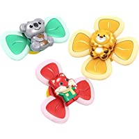 3 Pieces Baby Bath Spinner Toy with Rotating Suction Cup,Baby Bath Toys Cartoon Animal Rotating Suction Cups Food…