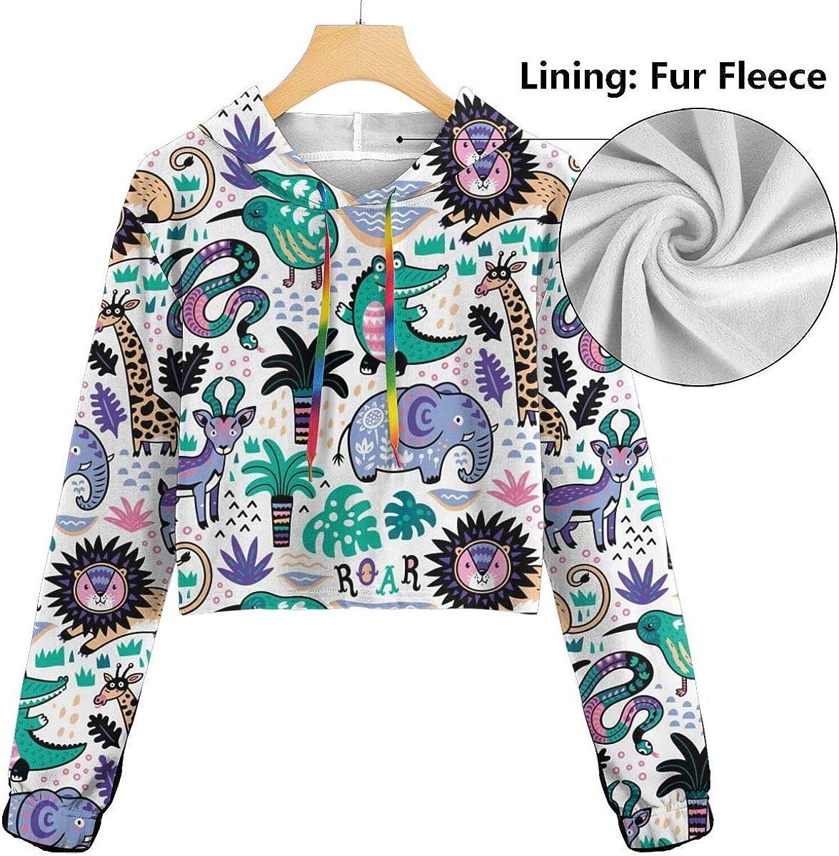 Womens Hoodie Sweater Cartoon Tropical Animals Crop Top Sweatshirt Lumbar Sweatshirt Cropped Hoodie