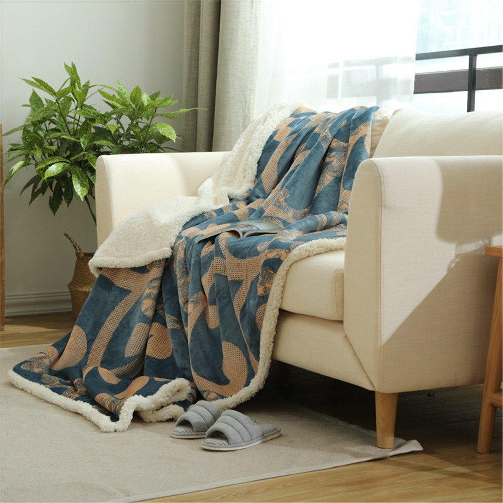 B WANMT Blankets Composite lambskin blanket thickening velvet blanket single student dormitory blanket double warm blanket, B Throws