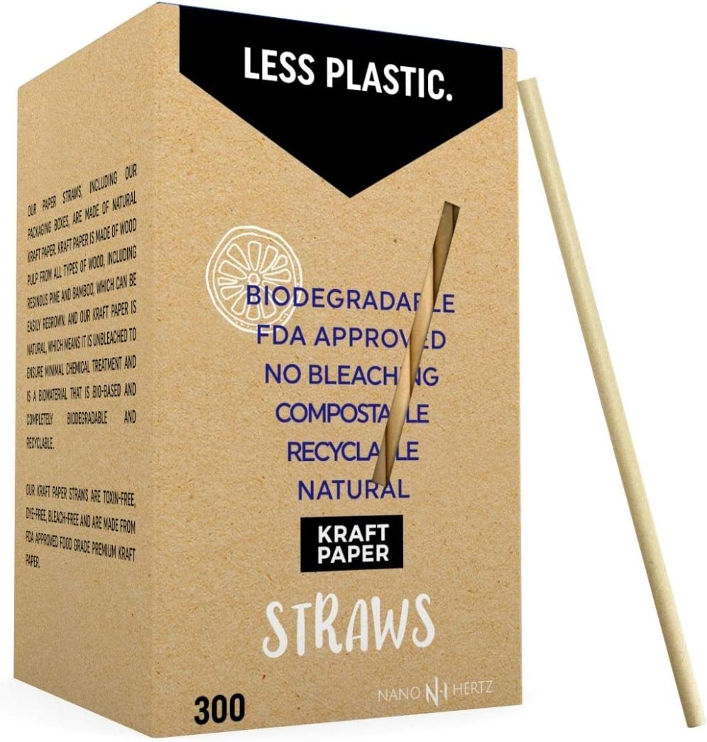 Nano Hertz 300 Pajitas Biodegradables de Papel Kraft – Pajitas ...