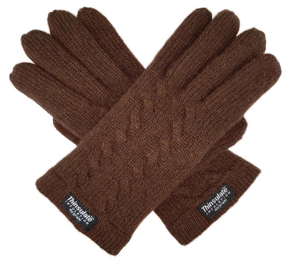 Bruceriver Ladie's Pure Wool Knitted Gloves with Thinsulate Lining and Cable design Size S (Brown)