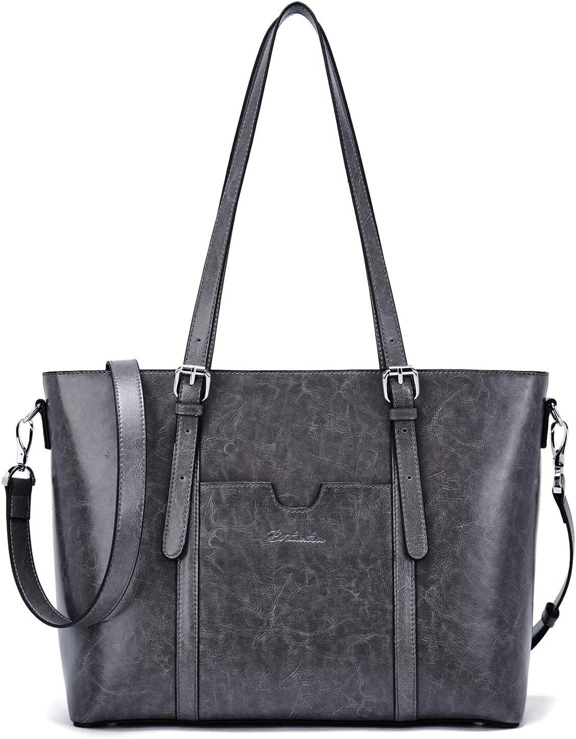 BOSTANTEN Women Leather Laptop Tote Office Shoulder Handbag Vintage Briefcase 15.6 inch Computer Work Purse Grey