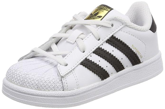 adidas Superstar Sneakers Baby Schuhe Unisex Weiß mit Schwarzen Streifen
