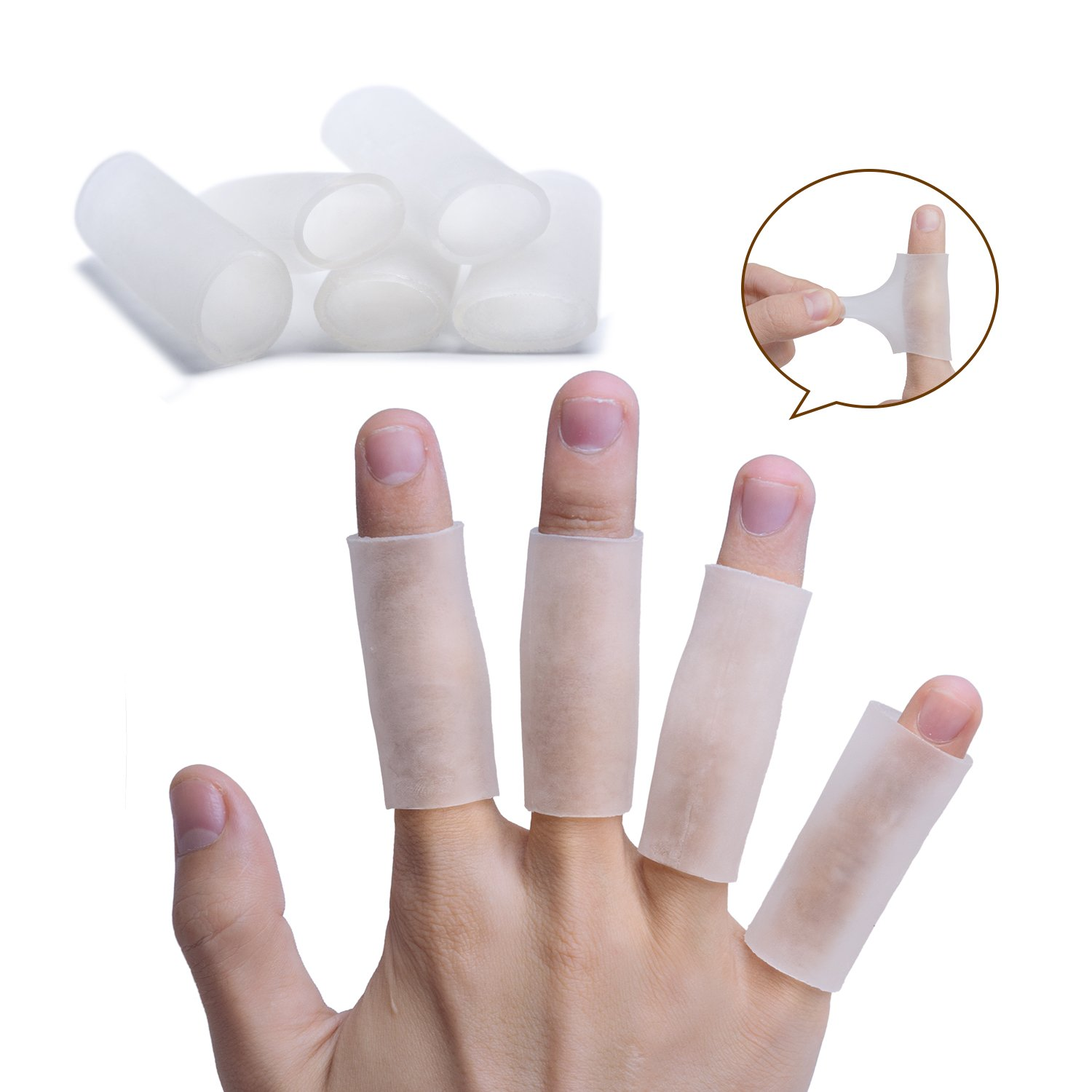Sumifun Silicone Thumb Sleeves- Gel Finger Protector Support for Arthritis Basketball Mallet Finger Trigger (Big Thumb Fingers, White)