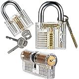 Sopoby Practice Lock Set, Transparent Training Crystal Keyed Padlock for picking, 3-pack of Locks for Locksmith Beginner