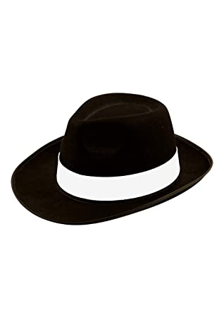 MENS FANCY DRESS AL CAPONE GANGSTER HAT 1920 S FELT BLACK MICHAEL JACKSON  HAT (BLACK) 8bfe509669f