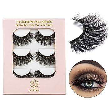 d2651db62cc Amazon.com : VGTE 3D Eyelashes Handmade False Eyelashes Extension Thick Long  Reusable Soft Makeup Natural Look Fake Eyelashes Black 3 Pairs ¡ : Beauty