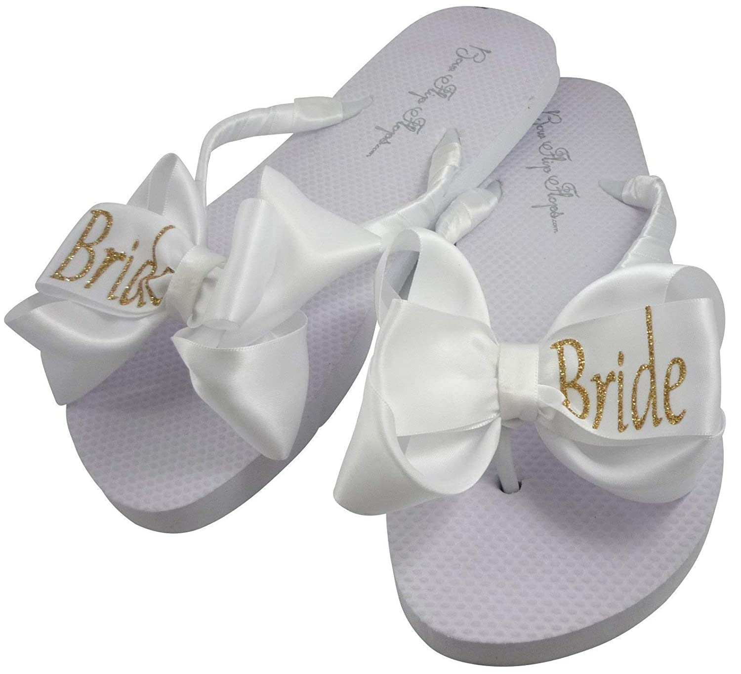 c4a7750e07f7d Gold Bride Glitter Bling Bow Flip Flops for the Wedding - many colors