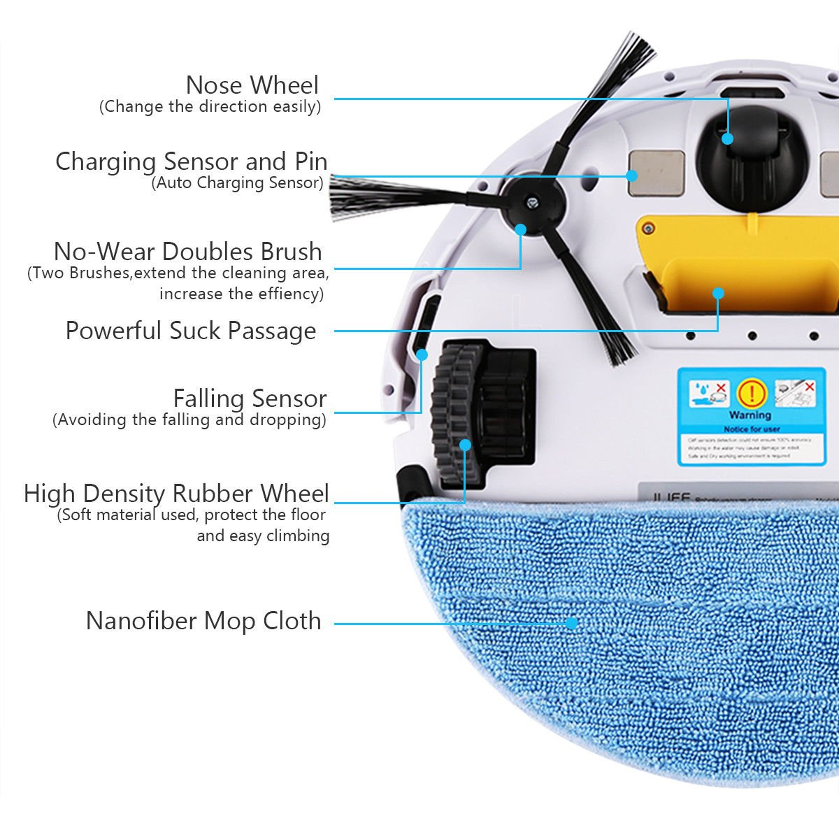 Cleaner Smart Robot Vacuum Cleaning Floor Auto Dust Microfiber Robotic Sweeper Mop Automatic by Alek...Shop (Image #8)