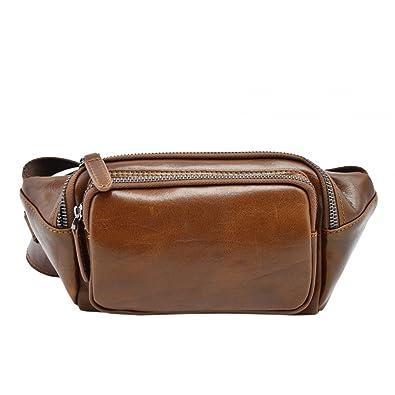 2a8c24c01f865 Amazon.com: Genuine Leather Man Bum Bag with Pockets Color Brown: Shoes