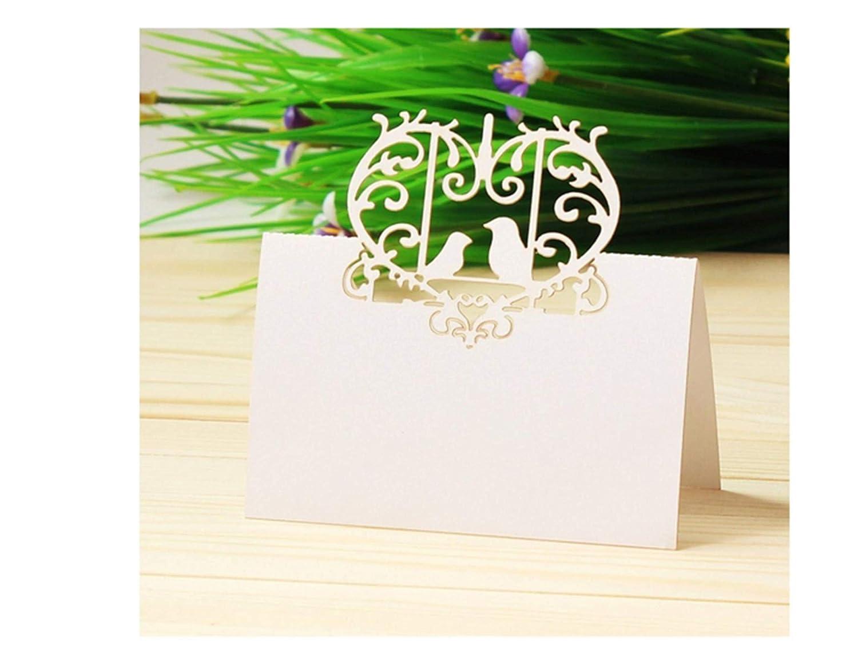 SANYAOSJ 100 piezas L/áser Soporte de mesa de boda Nombre de la mesa Decoraci/ón Nombre Place Tarjetas boda fiesta Favor