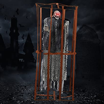 littlegrass halloween props scary hanging skull ghost decorations animated skeleton prisoner with sound and glowing red