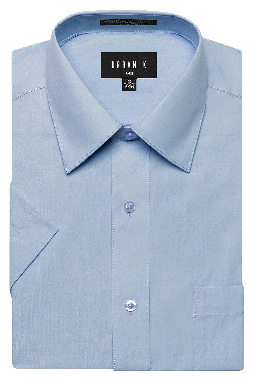 URBAN K メンズMクラシック フィット ソリッドフォーマル襟 半袖ドレスシャツ レギュラー & 大きいサイズ B06VWVK5FV M Ubk_light Blue Ubk_light Blue M