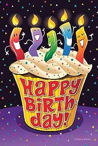 Toland Home Garden Happy Birthday Cupcake 12.5 x 18 Inch Decorative Candle Party Garden Flag