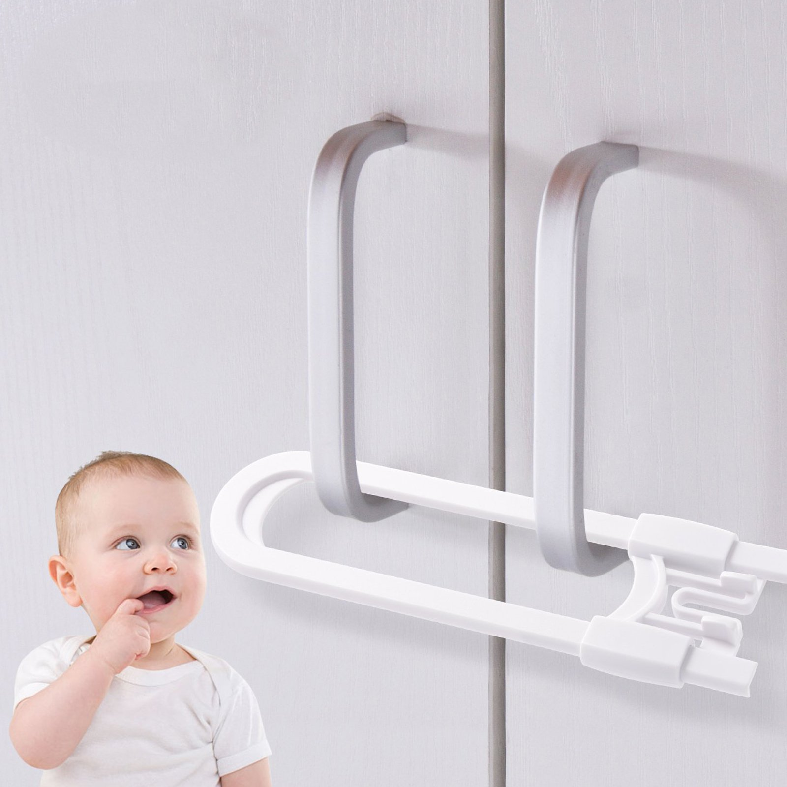 10 Pack Baby Proofing Cabinet Locks, U-Shaped Sliding Child Safety Cabinet Locks Latches for Knobs and Handles