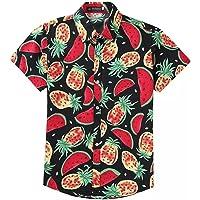 EElabper Camisa hawaiana de manga corta para hombre con estampado de sandía