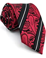 shlax&wing Men's Necktie Red Paisley Wedding Black