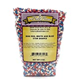 Mini Red, White and Blue Star Sprinkles, Bulk Size (8 OZ. Resealable Zip Lock Stand Up Bag)