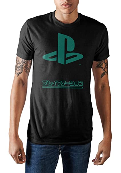 57ef7a9a06a9 Amazon.com: Sony Playstation Japanese Logo Men's Graphic T-Shirt ...
