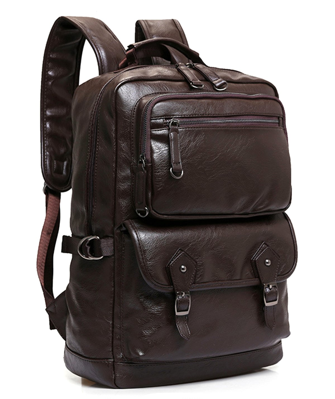 5c3321ba802 Kaukko Bags - Lightweight Genuine Leather Travel Backpack Rucksack School  Bag Backpacks Fits 15.6 inch Laptop