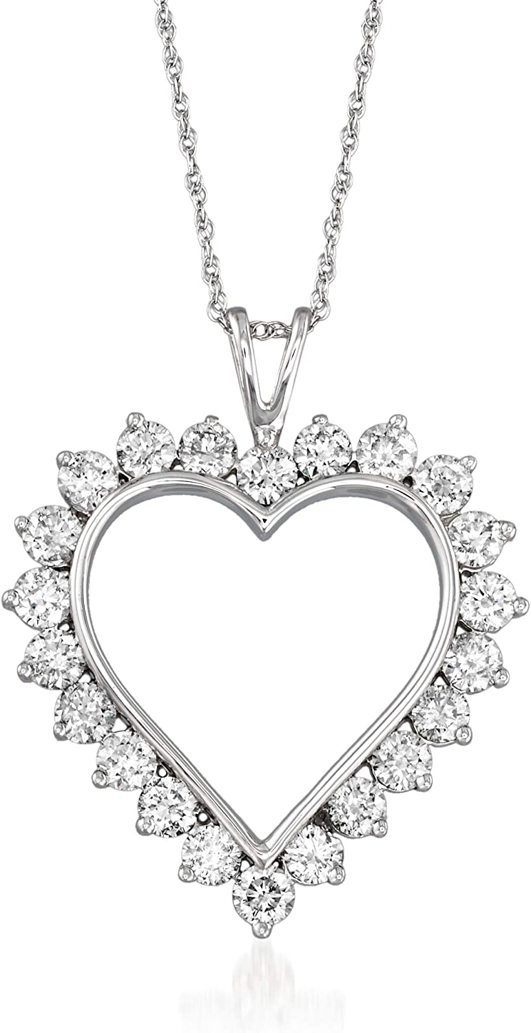 Diamond Open-Space Double-Heart Necklace in Sterling Silver /& 14kt Gold